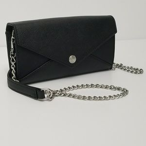 Rebecca Minkoff Black Leather Wallet On A Chain